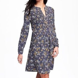 Long Sleeves Pin-tuck Floral Printed Swing Dress